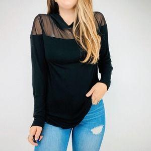 Maaji black mesh panel hoodie